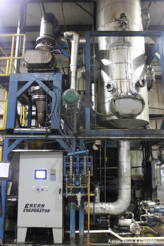 Used- Encon Evaporator - Model MVC 900. 900 gallons per hour. Fully automated with PLC controls. Approximately 600 gallon se...