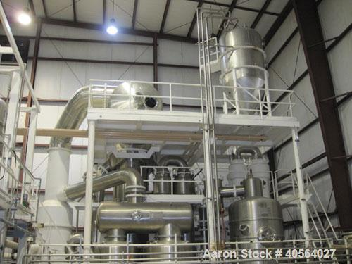 Used- Ing. A. Rossi Triple Effect Continuous Fractional Evaporator, model ULTER, 316 stainless steel product contact areas. ...