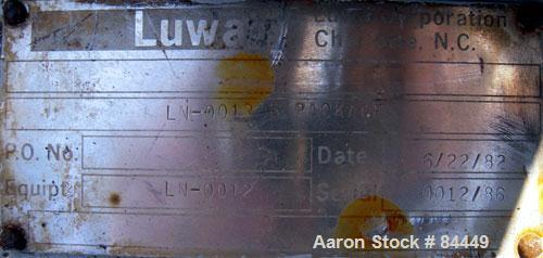 "Used- Luwa Thin Film Evaporator, model LN-0012, 316 stainless steel, vertical.1.4 square feet.3"" diameter x 21"" long jackete..."