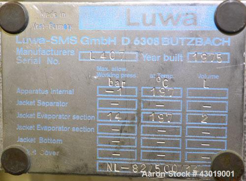 """Used- Luwa Thin Film Evaporator, Model NL-082/500/14, 316 Stainless Steel. Approximately 1.4 square feet surface area, 3"""" di..."""