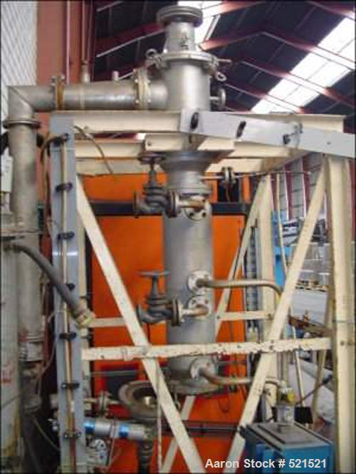 """USED: Luwa evaporator. Material of construction is 316 stainless steel. 5.16 square feet (0.5 m2). 6.6"""" diameter x 39"""" strai..."""