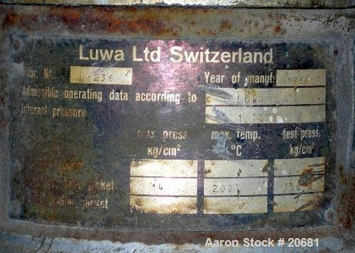 "USED:Luwa thin film evaporator, 1.4 sq ft surface area, 316L SS, type L-082/500/14. Jacketed chamber 3"" dia x 21"" lg, rated ..."