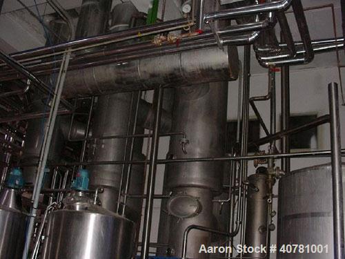 Used-Niro continuous evaporator, type 2 effects T.V.R. Material of construction is stainless steel. Working capacity 873 gal...