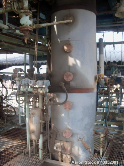 Used-Wipe Film Evaporator, cylindrical type, 304 stainless steel construction, 87 square feet, vertical wiper drive is a 30 ...
