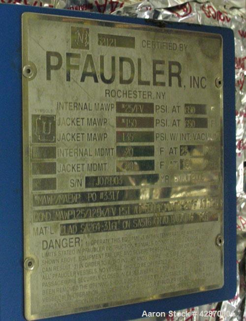 Used-Pfaudler Wipe Film Evaporator. Approximately 25 square feet, 316 stainless steel, internal rated 25 psi/full vacuum @ 6...