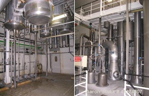 Used-Scheffers Falling Film Evaporator. 4 effect + 1 effect finisher, 12,000 liters capacity on 29% dry solids.