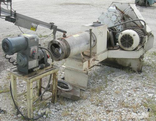 """Used- Bonnot extruder,  8"""" diameter screw (6"""" pitch) x 12"""" long jacketed barrel, carbon steel.  Top feed 8"""" x 12"""".  With con..."""