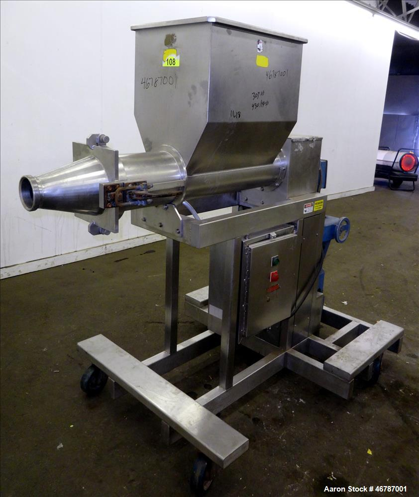 """Used- Food Grade """"Auger-Style"""" Extruding Machine, 304 Stainless Steel."""