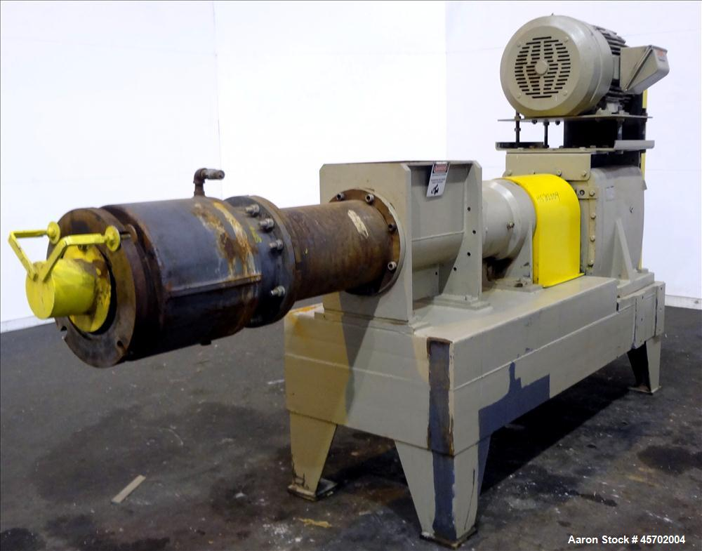 """Used- The Bonnot Co. Model 10 EXT Single Screw Extruder, Carbon Steel. 10"""" Diameter x 72"""" long screw, 7 to 1 L/D ratio. (2) ..."""