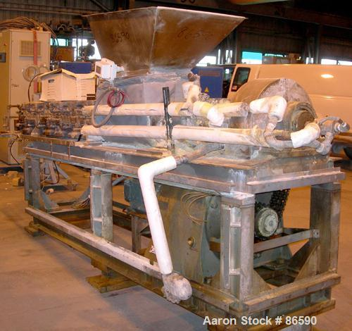 "USED- Bonnot Type Extruder, Carbon Steel. (2) Approximately 8"" diameter x 96"" long screws. (6) Jacketed barrel sections. 16""..."