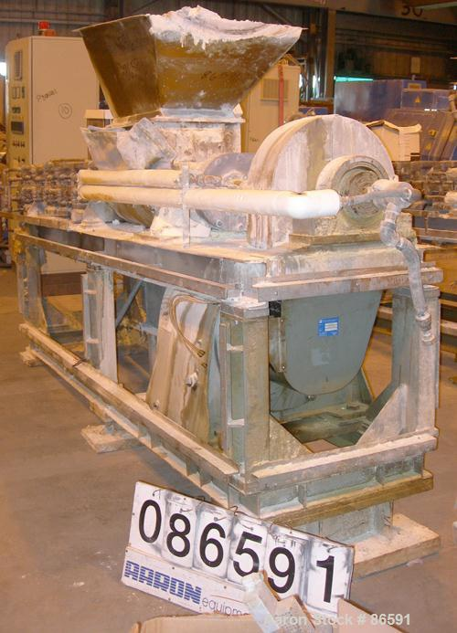 """USED- Bonnot Type Extruder, Carbon Steel. (2) Approximately 8"""" diameter x 96"""" long screws. (6) Jacketed barrel sections. 16""""..."""