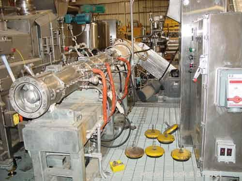USED: Buss co-kneader extruder 200 mm. 50 mm stroke, G15 gear with a6.11 gear ratio. Last used in a food application.