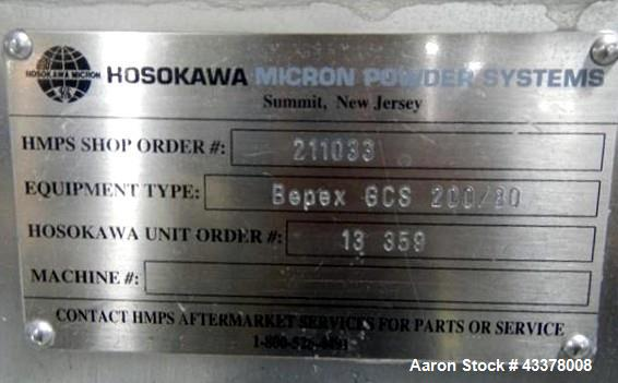 Used- Hosokawa Bepex Twin Screw Extruder, Model BEPEX GCS 200/80