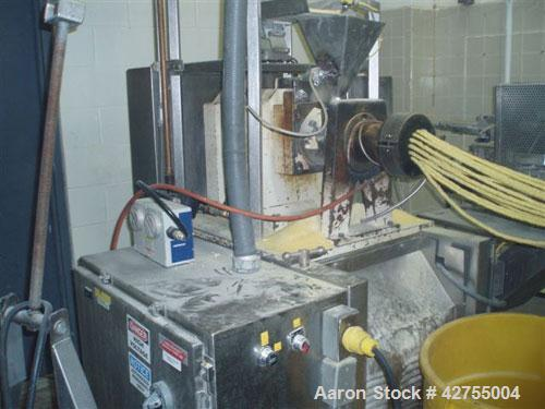 Used-Maddox MX650 Baxed Extruder capable of up to 500 lbs per hour (226 kg/hr) of raw corn curls. Has 275 lb stainless steel...