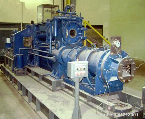 Used-Miyazaki Iron Works Co Ltd extruder, model MV-310A. 500 wet kg per hour capacity. Stainless steel screws and barrels, v...