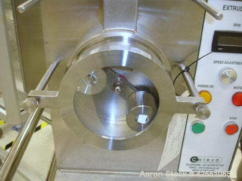 Used- Caleva Extruder, Model 20, Stainless Steel. Pan feed, 10-30 rpm speed range, 110 volt.