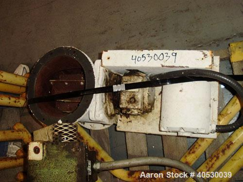 """Used-Rotary valve, approximately 8"""" diameter, 8"""" x 8"""" discharge, carbon steel, with 1/2 hp drive."""