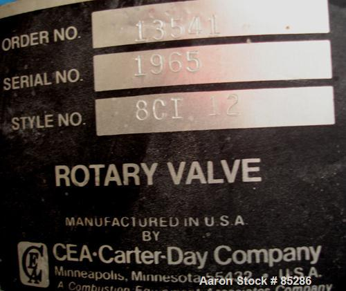 "Used- Carter Day Rotary Valve, Model 8CI12, Carbon Steel. 8"" x 12"". 8 vane rotor, approximately .80 cubic feet per revolutio..."