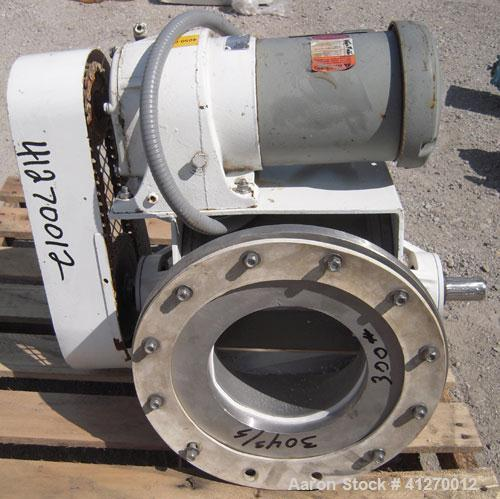 "Used- Kice Heavy Duty Rotary Airlock, Model VBDS10X8, 304 stainless steel. Approximate 10'' diameter x 8"" wide closed vane r..."