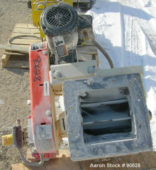 "USED: Mac multi duty rotary air lock, model MD40, carbon steel. 10""diameter x 10"" wide. Approximate 8 vane open rotor. (.41)..."