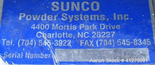"Used- Sunco Powder Systems Rotary Airlock, carbon steel. Approximately 8"" diameter x 8"" wide open vane rotor. 8"" inlet/outle..."