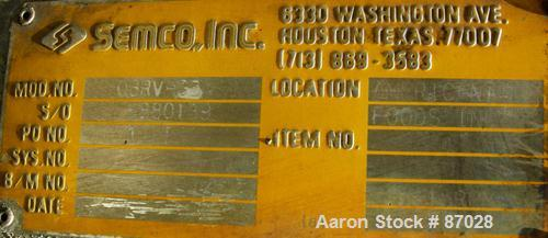 """Used- Semco Rotary Valve, Model OBRV-02, Cast Iron Housing. Approximate 8"""" x 10"""" carbon steel open rotor, approximately 2.4 ..."""