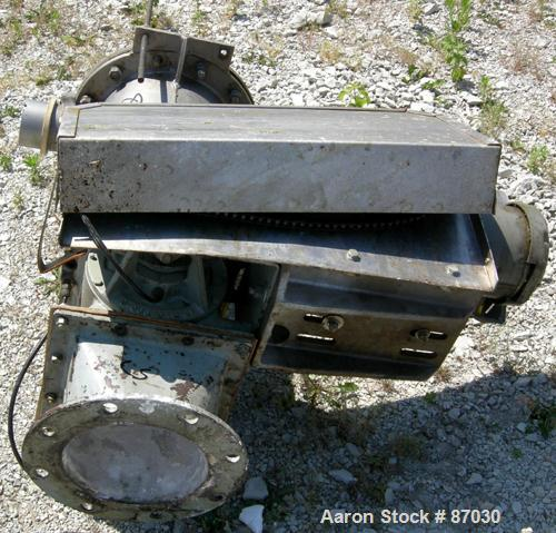 "Used- Semco Rotary Valve, Model OBRV-02, Cast Iron Housing. Approximate 8"" x 10"" carbon steel open rotor, approximately 2.4 ..."