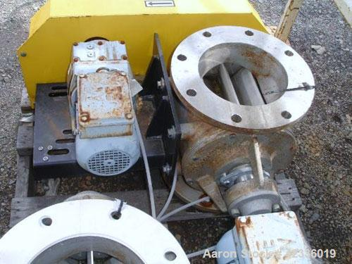 "Used- Semco 8"" Rotary Airlock, Model RV-308, Stainless Steel. 8"" Diameter inlet/outlet flange, 15"" overall height with (.5) ..."