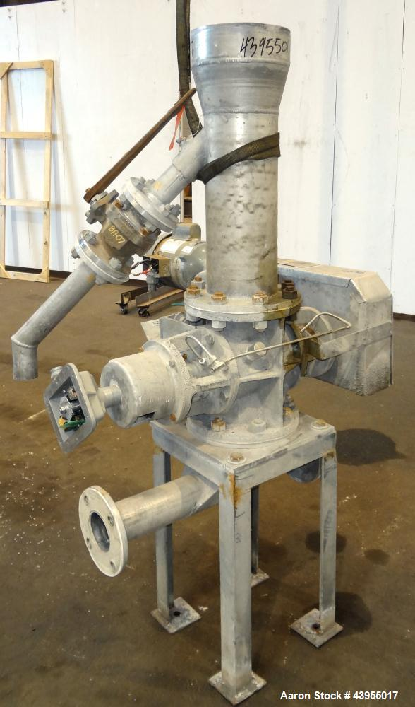 Used- Semco Rotary Valve, Model XHD-6, Aluminum Housing. Approximate 0.10 cubic feet per revolution. Driven by a 1/2 hp, 1/6...