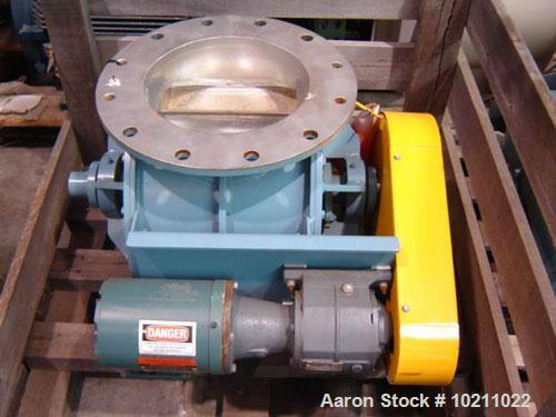 """Used-12"""" diameter Young 12 HC stainless rotary valve with drive.  Overall valve height is 22"""". Manufactured by Young Industr..."""