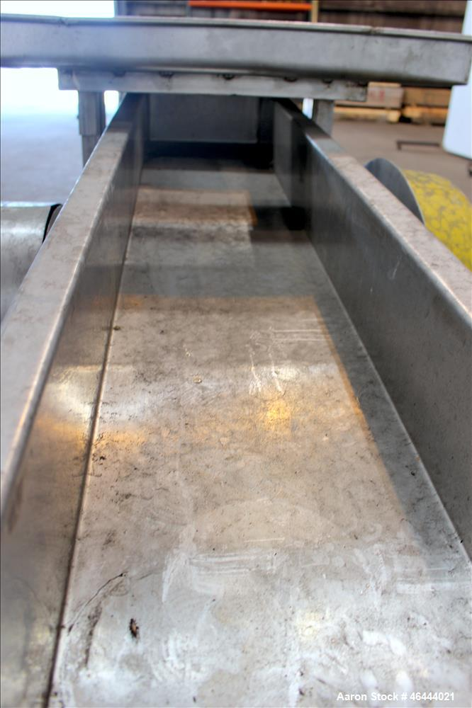 """Used- Commerical Manufacturing and Supply Company Vibratory Feeder, 304 Stainless Steel. Approximate 88"""" long x 11-3/4"""" wide..."""