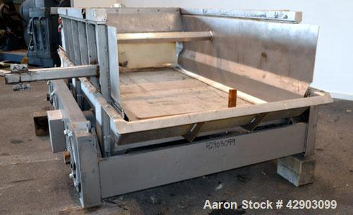 Used- Eriez Low-Profile Mechanical Vibratory Feeder, Model HVF 5610, Style 9919823, 316 Stainless Steel. 56 Wide x 120 long ...