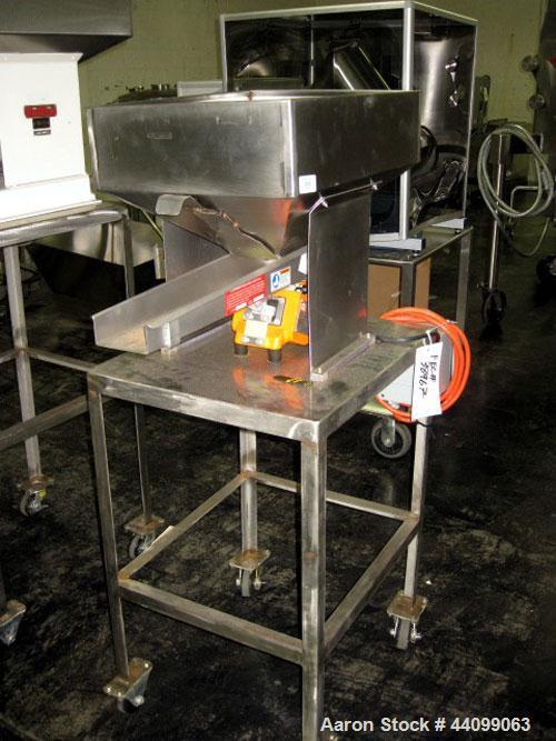 """Used- Eriez Vibrating Feeder, Model N12-FT-115, Style 26. 4"""" Wide chute, 15""""W x 20""""L  hopper, on stainless steel stand seria..."""