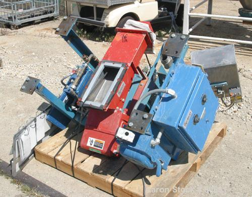 "USED: FMC Syntron electromagnetic vibrating feeder, model F212B, 430 stainless steel clad. 8"" wide x 30"" long x 4"" deep trou..."