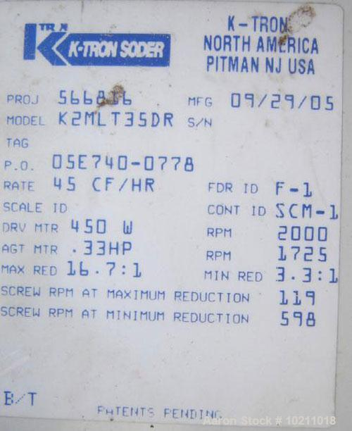 """Used-K-Tron Loss In Weight Twin Screw Feeder, Kw-NL-T35. 1"""" diameter twin concave profile screws. Stainless steel material c..."""