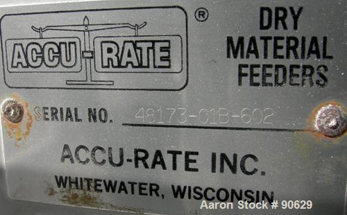 """USED: Accurate volumetric dry material feeder. Approximate 2.25"""" diameter x 40"""" long stainless steel screw, Approx feed rate..."""