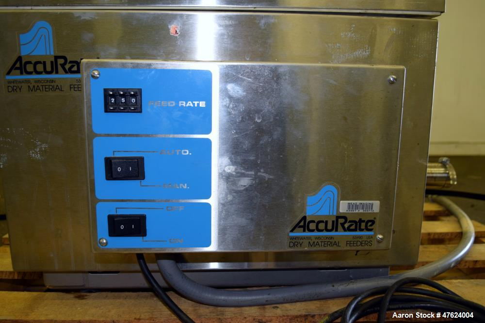 "Used- Accu-Rate 600 Series Dry Material Feeder, Model 612, 304 Stainless Steel. Approximately 1-7/8"" diameter helix, vinyl m..."