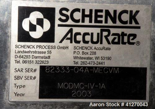 """Used- Schenck AccuRate Mechatron Gravimetric Feeder, Model MC-1V-1A, Stainless Steel. Approximately 2-7/8"""" diameter x 48"""" lo..."""