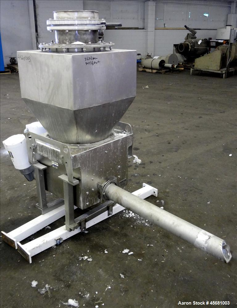 "Used- AccuRate Feeder, 304 Stainless Steel, 3.5"" diameter 316 stainless steel screw, driven by a 1 hp, 230-460 volt, 1725 rp..."