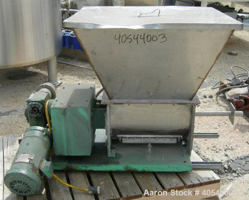 "Used- Acrison volumetric feeder, model 105ZW, 304 stainless steel. 1-3/4"" diameter x 24"" long metering auger, (1) intromitte..."