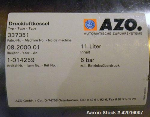 "Unused- AZO Feeding System consisting of: (1) AZO hopper, model D1104-2X500-65-A22R, 304 stainless steel, approximately 44"" ..."