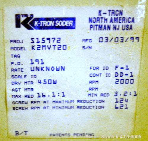 Used- K-Tron Volumetric Twin Screw Feeder, Model K2-MV- T20, 316 Stainless Steel. Approximate (0.025) to 2.5 cubic feet an h...