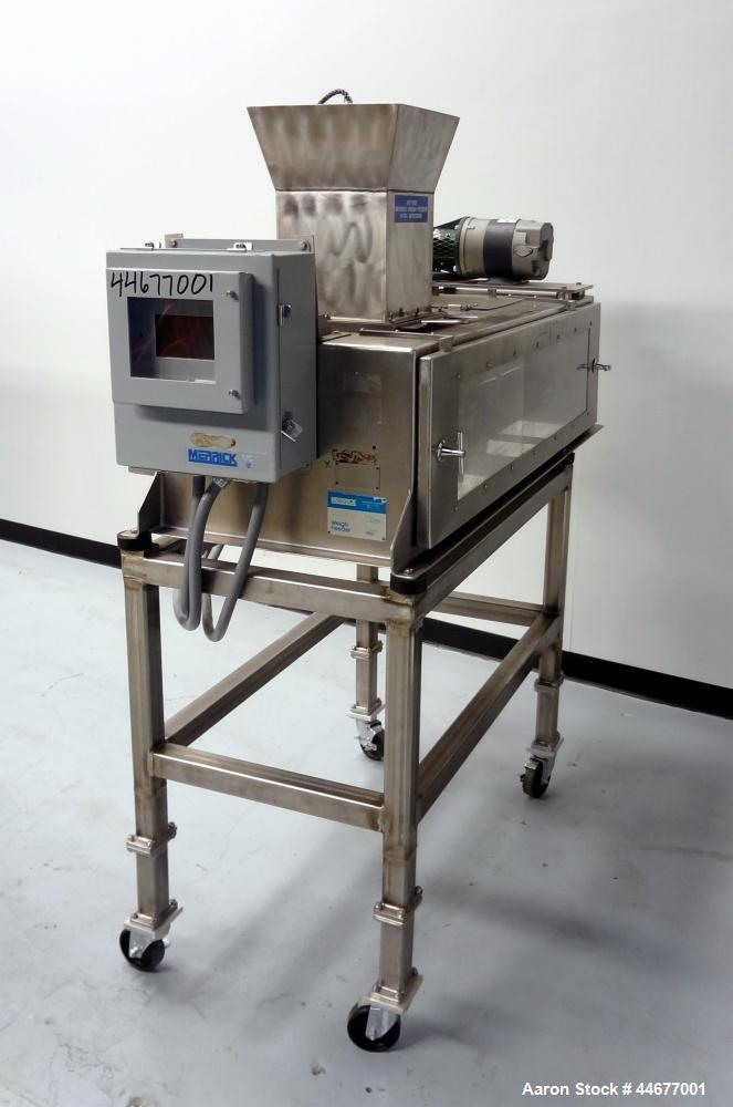 Used- Stainless Steel Merrick Industries Weigh Belt Feeder, Model Gravimerik 950