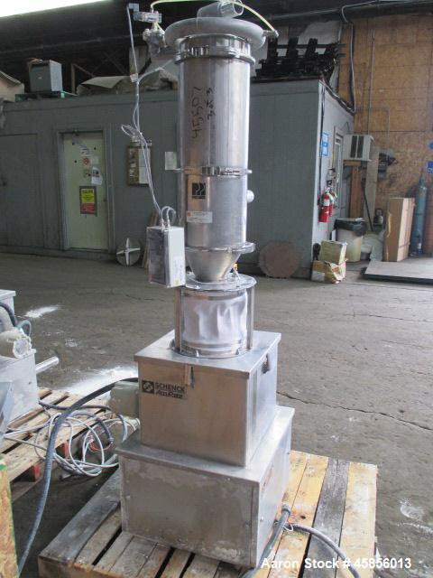 """Used- Schenk Accurate Volumetric Feeder, Type MOD602M. Stainless steel screw and spout, 2.25"""" diameter x 21"""" long spout with..."""