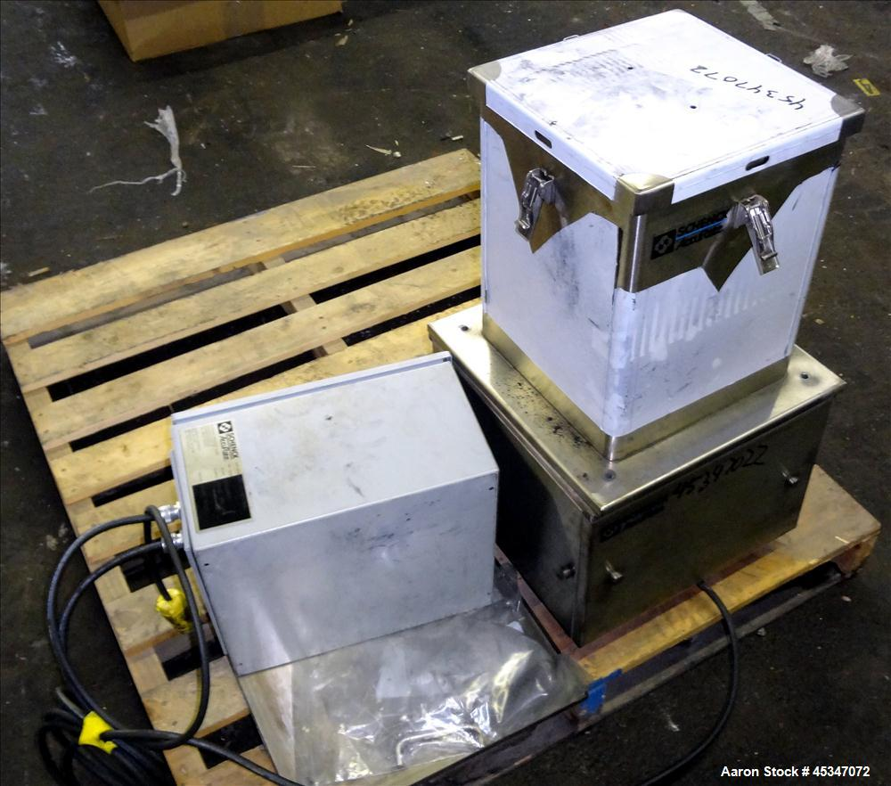 "Used-Schenk Volumetric Feeder, Model S300040, Stainless steel, 1"" diameter x 14"" long, 1/8 HP motor, with control box."