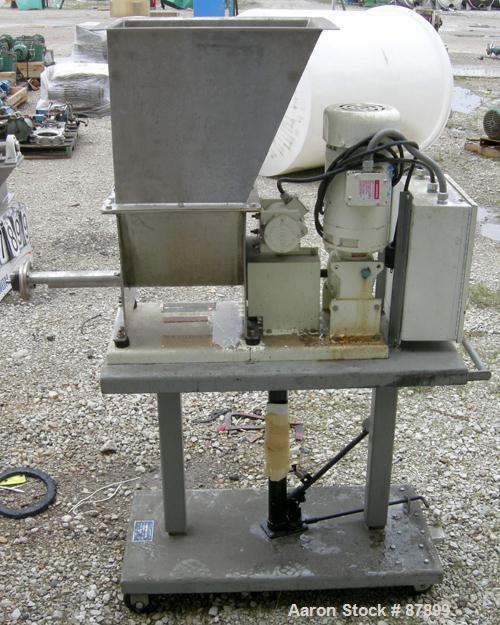 "USED: Vibra Screw volumetric feeder, 304 stainless steel. Approximate 1-3/4"" diameter x 22"" long screw. Approximate 1.5 cubi..."