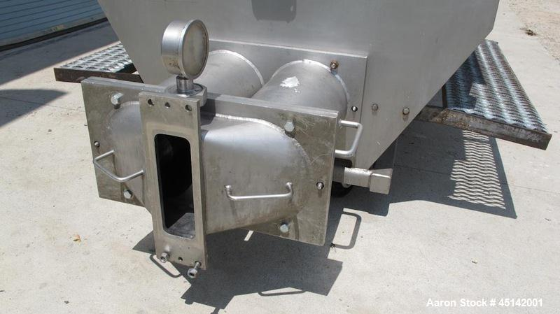 Used-Volumetric Twin Screw Feeder.  Stainless steel twin screw feeder with agitator screw.  Screws driven by Eurodrive 3/4 h...