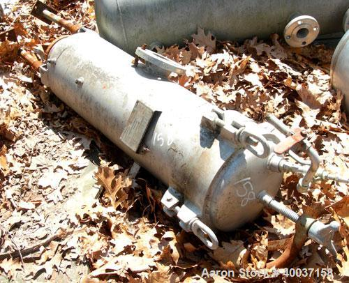 "Used-Used: Filterite cartridge filter, model 36MS03-316-3FD-C150, stainless steel. 12"" x 34"" straight side. Dished bolt on t..."