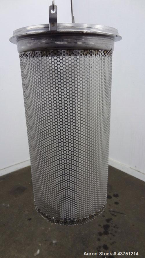 "Used- Basket Filter, 7 Gallon Capacity, 301 Stainless Steel, Vertical. Approximately 8-1/2"" diameter x 28"" deep housing, bol..."