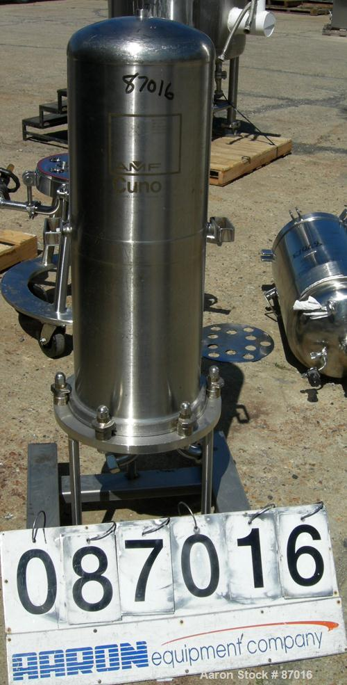 "USED: AMF Cuno Zeta Plus cartridge filter, model 12ZP3, 316 stainless steel. 12"" diameter x 36"" long. Dish top, flat bolt-on..."